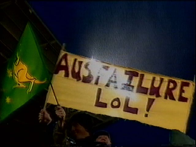 ASR-Hell Owner oswald P Wrong stole the show at the 2006 Tri Nations Game in Auckland when THIS IMAGE opened the Live TV Broadcast into the lounge rooms of Ausfailure's long suffering Rugby League fans.